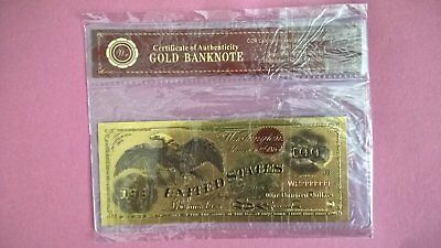 $100 DOLLAR USA 24k GOLD PLATED BANK NOTE Brand New Sealed.