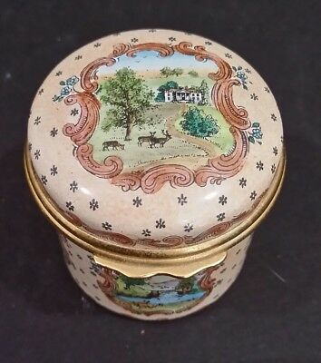 Halcyon Days Enamels Hand Painted Scenic Box RARE