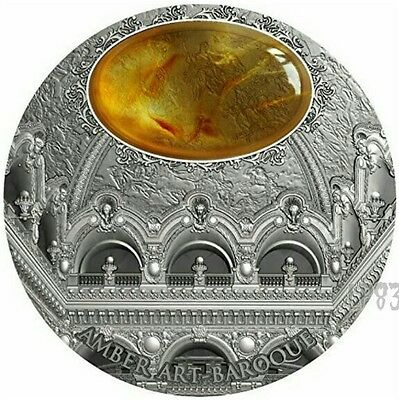 2016 2 Oz Silver $5 BAROQUE Amber Art Coin . Niue..