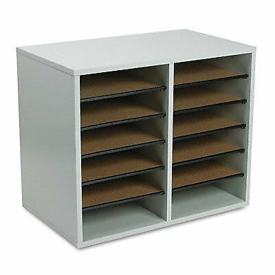 Safco 9420GR Wood Adjustable Literature Organizer - 12 Compartment - Gray