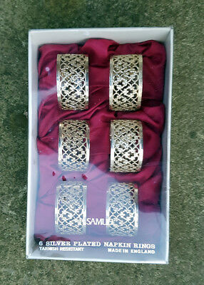 H Samuel Silver Plated Napkin Rings (6) unused