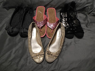 Mixed Lot Womans Sz.8-9M  4 Pairs Sandals Flip Flops Ballet Flats Dress Casual