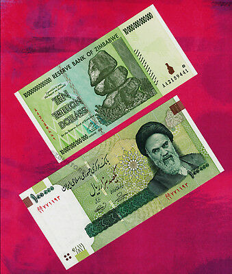 10 Trillion Zimbabwe Dollars AA 2008 Banknote + 100,000 Iran Rials Rial Currency