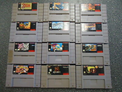 Lot of 12 Super Nintendo Games Zelda Mario StarFox