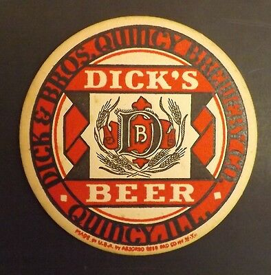 Vintage Dick's Beer Coaster -  Quincy, IL - No Reserve!