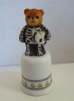Vintage Lucy Rigg (Lucy & Me) Halloween Bear in Skeleton Costume Thimble 1987