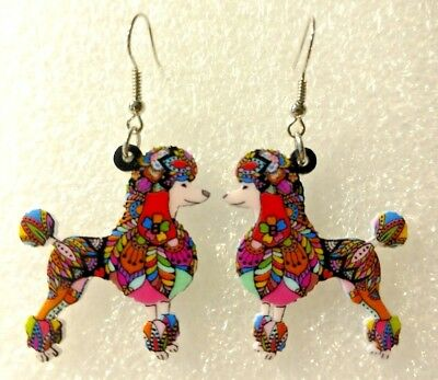 Poodle Dog Pup Double Sided Earrings Floral Multicolor Acrylic
