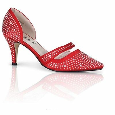 """Girls Womens Red Satin Diamanté Shoes 3"""" Heel Size 4/37 Wedding Prom Party"""