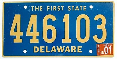"Delaware 2001 ""The First State"" License Plate, Gold Blue, 446103"