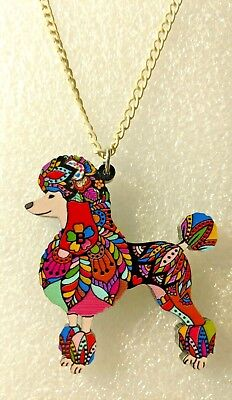Poodle Dog Pup Pendant Necklace Multicolor Acrylic Jewelry