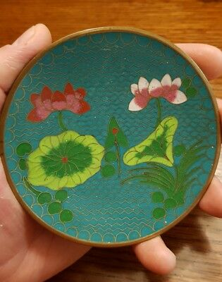 Chinese blue Cloisonne plate waterlilies