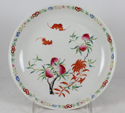 19TH C CHINESE PORCELAIN PLATE DISH BATS & PEACHES, IRON RED MARK to BASE