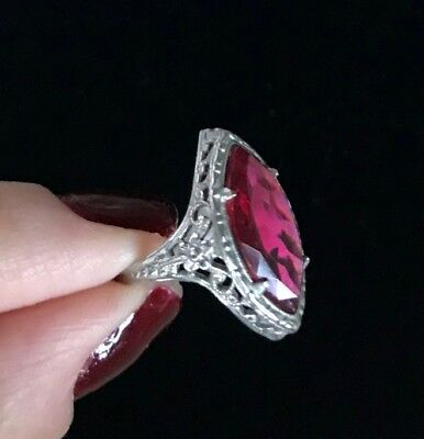 Vintage Silver Tone Ornate Pink or Red Stone Ring Size: 4.75 M300