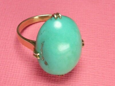 Antique Vintage Gold Large Cabochon Turquoise Ring 4.5G