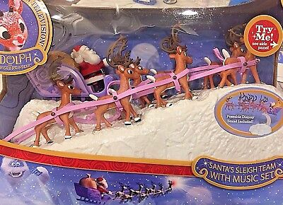 Rudolph The Red Nosed Reindeer SANTAS SLEIGH TEAM WITH MUSIC SET Christmas Decor
