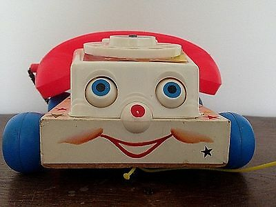 Fisher-Price Vintage Pull Along Chatter Phone Wood Base, Fabirc Cord~Sweet