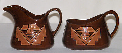 "Native American Signed ""TEKAWITHA SP"" POTTERY BROWN SUGAR & CREAMER w/ Design"