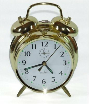 Traditional Double Bell Wind Up Alarm Clock- Brass Large Easy To Read Face