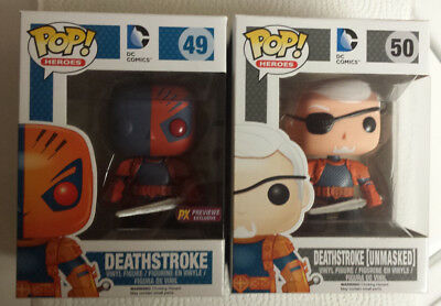 Funko Pop! Heroes Lot of 2 Deathstroke Masked and Unmasked Previews Exclusive DC