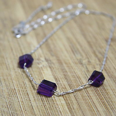 Natural Purple Amethyst Necklace in Solid Sterling Silver 6th Anniversary OOAK