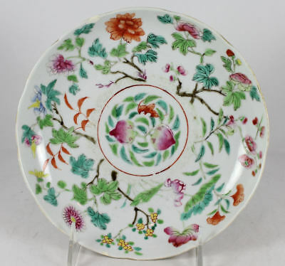 CHINESE PORCELAIN PLATE 19thC  w 2 PEACHES & BAT  6 CHAR. IRON RED MARK