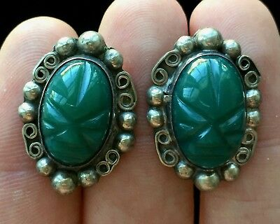 "Vintage Sterling Silver Mexico Green Scarab Earrings 1"" M100"