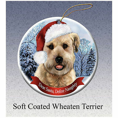 Soft Coated Wheaten Terrier Howliday Porcelain China Dog Christmas Ornament