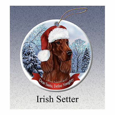 Irish Setter Howliday Porcelain China Dog Christmas Ornament