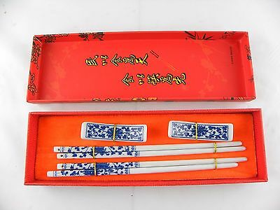 CHOPSTICK Gallery set of 2 Porcelain Sticks with Matching Rests New