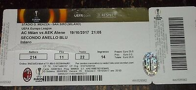 Biglietto/ticket  - Milan- Aek Atene Uefa Europa League 2017/2018 -  19/10/2017-