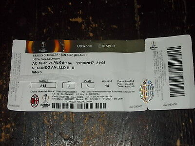Biglietto/ticket  - Milan- Aek Atene Uefa Europa League 2017/2018 -  19/10/2017