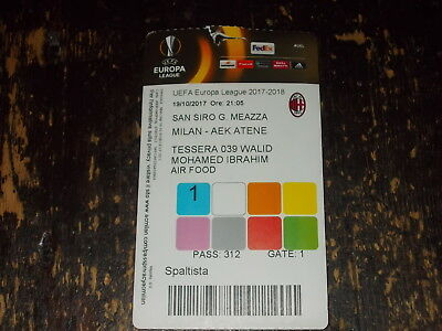 Pass Calcio   Milan- Aek Atene Uefa Europa League 2017/2018 -  19/10/2017