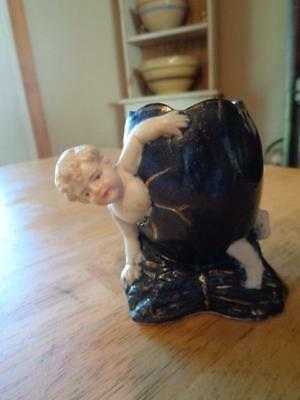 """Unusual Vintage/Antique Figurine/Egg W/Baby Coming Out Of It~3 1/4""""~DAMAGE"""