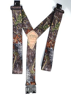 "2"" Mossy Oak Camouflage Suspenders - Perry Clips"