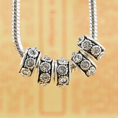 5pcs CRYSTAL silver SPACER BEADS FIT European Beads Charm Bracelet
