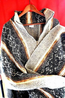 Lama Wool Hooden Women Poncho - Hand Knitted Light And Warm Multicolors .