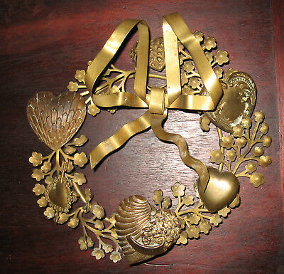 Petit Choses 7 inch Valentines Wreath, brass hearts