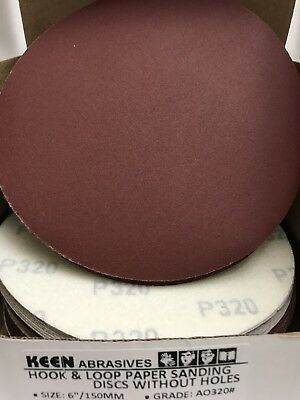 "320 Grit, Keen Abrasives #32569, 6"" Dia Hook & Loop Sandpaper, 25 Pk"