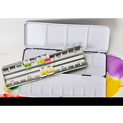 12/24 Girds Solid Watercolor Tins Palette Paint Case Empty Metal Watercolor Box