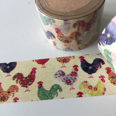 Washi Tape Somi Wide Patterned Roosters 30Mm Wide X 10Mtr Roll Craft Plan Wrap