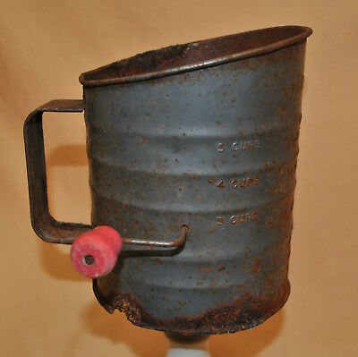 VINTAGE bright - pride Hand Crank Measuring Flour Sifter 5 Cup Made In Usa
