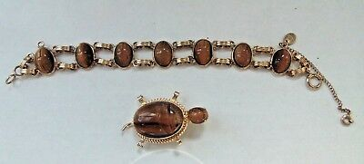 "Vintage BURT CASSELL Tiger Eye Scarab 7"" Bracelet and TURTLE Scarab Brooch 12kGF"