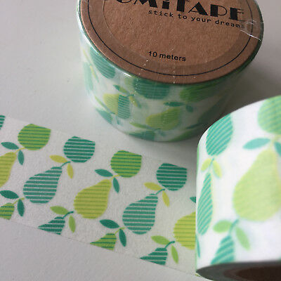 Washi Tape Somi Wide Green/lime Pears 30Mm Wide X 10Mtr Roll Craft Plan Wrap