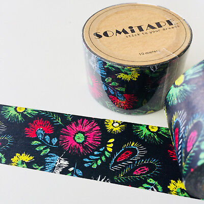 Washi Tape Somi Wide Fireworks Floral 30Mm Wide X 10Mtr Roll Craft Plan Wrap