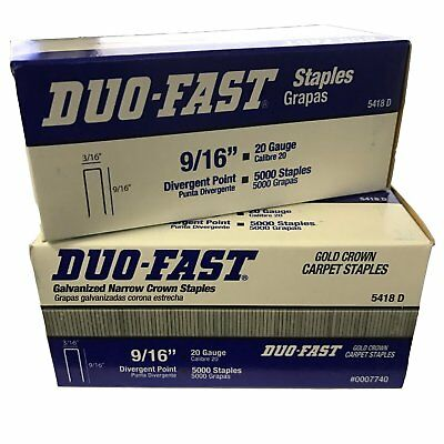 Duo-Fast 5418D 9/16-Inch By 20 Gauge 3/16 Crown Gold Staples (5,000 Per Box) - P