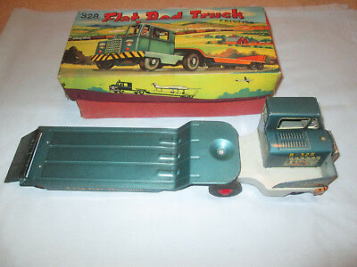 Vintage Tin Friction Flat Bed Truck #B 328 w/Original Box. Working Made in Japan