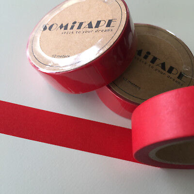 Washi Tape Somi Solid Colour Red 15Mm Wide X 10Mt Roll Scrap Plan Craft Wrap