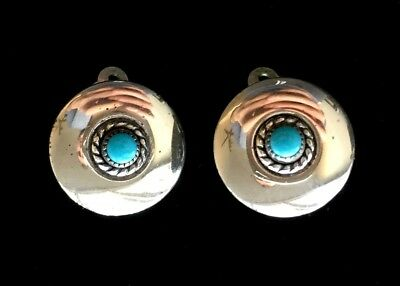 "Vintage Southwestern Sterling Silver & Turquoise Earrings 5/8"" M100"