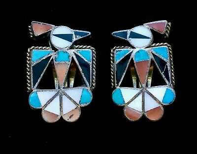 "Vintage Southwestern Sterling Silver Inlaid Turquoise & Coral Earrings 1"" M100"