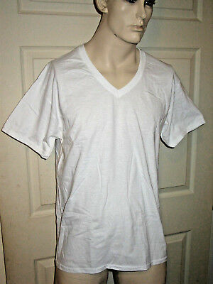 3 Pack Hanes Tagless Classics Super Soft White V-Neck Tee Shirts T-Shirt Mens S
